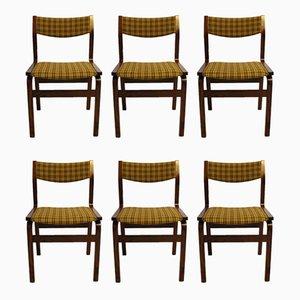 Moderne dänische Esszimmerstühle mit Stoffbezug & Gestell aus Palisander im skandinavischen Stil, 1960er, 6er Set