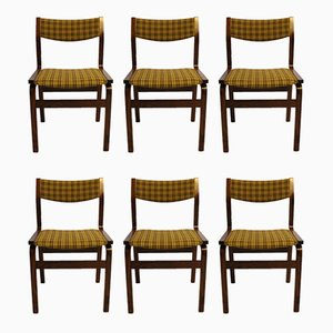 Scandinavian Modern Danish Fabric and Rosewood Dining Chairs, 1960s, Set of 6
