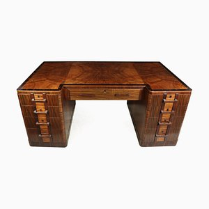 Vintage Art Deco Walnut Desk, 1930s