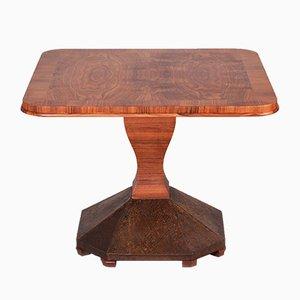 Tavolino da caffè Art Deco in ottone e impiallacciato in noce, anni '20