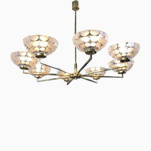 Vintage German Brass and Cut Glass Chandelier, 1970s