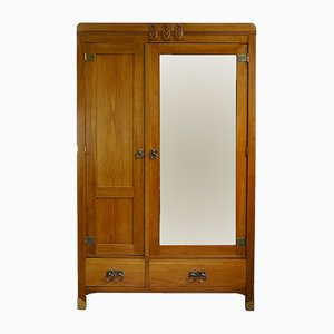 Art Deco Oak Wardrobe with Mirror from Rother & Kuntze, 1920s