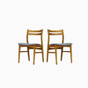 Dänische Esszimmerstühle mit Gestell aus Buche & Stoffsitz, 1960er, 2er Set