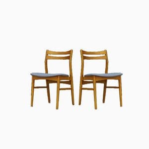Danish Beech and Fabric Dining Chairs, 1960s, Set of 2