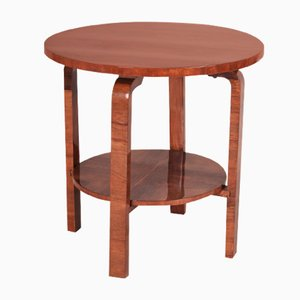 Small Round Czechoslovak Art Deco Walnut Table, 1930s