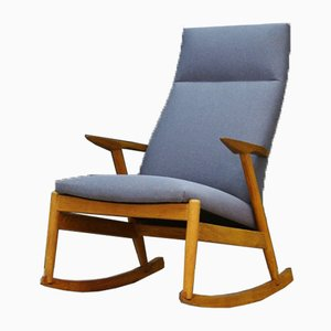 Mid-Century Danish Fabric and Ash Rocking Chair, 1970s