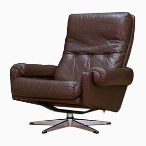 Mid-Century Danish Leather and Steel Armchair, 1960s
