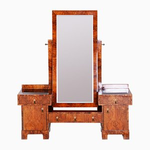 Art Deco Walnut Dressing Table with Mirror, 1930s