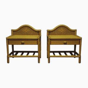 Mesas auxiliares vintage de bambú, años 70. Juego de 2