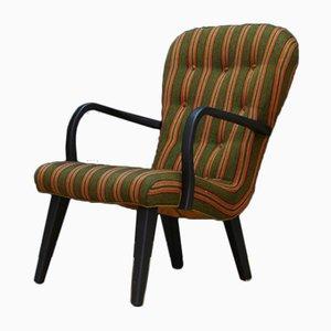 Dänischer Mid-Century Stuhl mit Stoffsitz & Holzgestell, 1960er