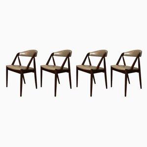 Chaises de Salle à Manger Modèle 31 en Cuir et Palissandre par Kai Kristiansen pour Schou Andersen, 1960s, Set de 4
