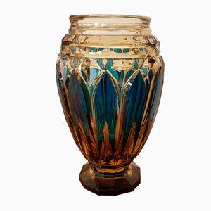 Vaso Art Deco in cristallo di Simon Joseph per Val Saint Lambert, anni '30