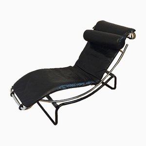 Chaise longue moderna de cromado y cuero, años 80