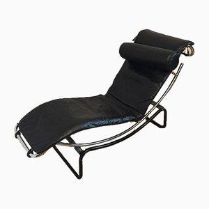 Chaise longue modernista in metallo cromato e pelle, anni '80