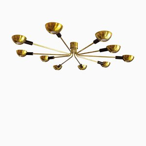 Mid-Century Italian Brass Flush Mount Ceiling Lamp from Stilnovo, 1950s