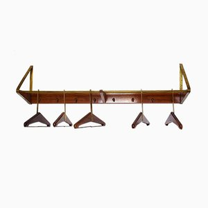 Brass and Cherry Wall Coat Rack by Franz Hagenauer for Werkstätte Hagenauer, 1950s