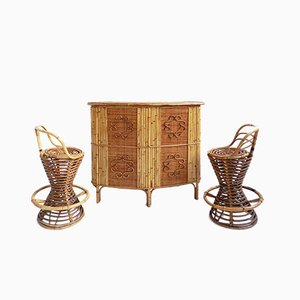 Mobile bar Tiki con sgabelli di Franco Albini per Vittorio Bonacina, Italia, anni '50