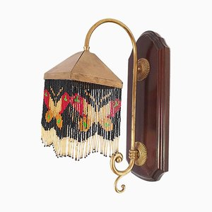Mid-Century Art Deco Style Wooden Sconce, 1950s