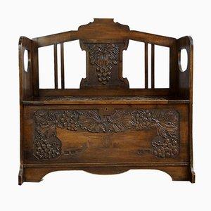 Banco alemán antiguo de madera artesanal