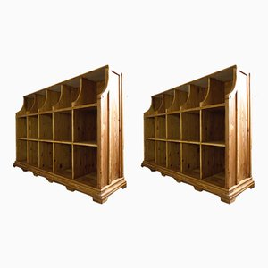 Art Deco German Wooden Shelving Unit, 1920s, Set of 2