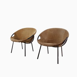 Vintage German Steel and Suede Lounge Chairs from Lusch & Co, 1960s, Set of 2