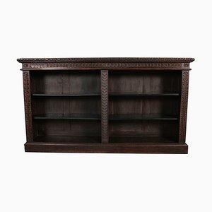 Libreria antica in legno di quercia intagliato