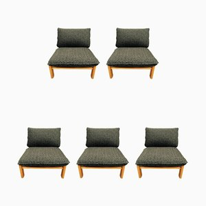 Scandinavian Modern Oak Lounge Chairs, 1960s, Set of 5