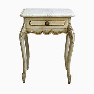 Antiker barocker französischer Beistelltisch aus Holz & Marmor