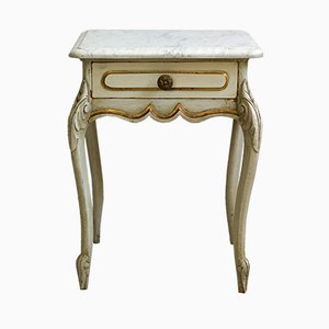 Table d'Appoint Baroque Antique en Bois et Marbre, France