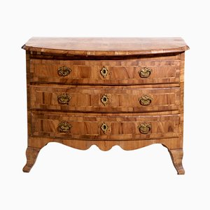 Antique Swedish Elm & Fruitwood Veneer Dresser