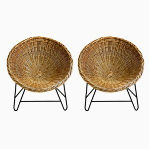 German Metal and Rattan Lounge Chairs, 1970s, Set of 2