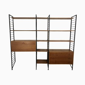 Vintage Teak and Metal Ladderax Shelving Unit by Robert Heal for Staples, 1970s