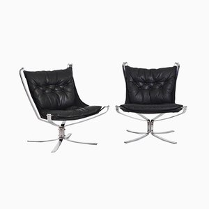 Black Leather and Steel Falcon Chairs from Vatne Møbler, 1960s, Set of 2