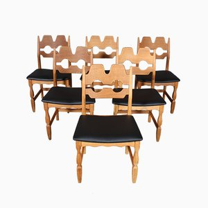 Vintage Razorblade Dining Chairs by Henning Kjærnulf for EG Møbler, Set of 6