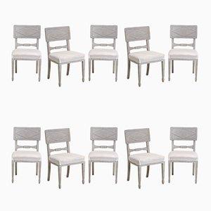 Grandes Chaises de Salle à Manger Antiques, Suède, Set de 10