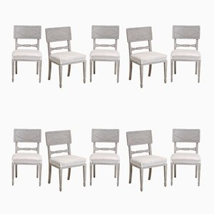 Large Antique Swedish Dining Chairs, Set of 10