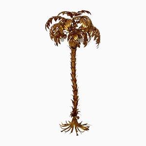 Lámpara de pie en forma de palmera bañada en oro de Hans Kögl, años 70