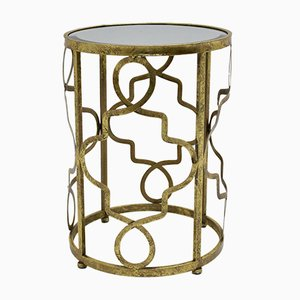 Italian Modern Metal and Gold Plating Console Table, 1980s