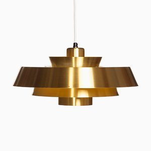 Danish Brass Nova Ceiling Lamp by Johannes Hammerborg for Fog & Mørup, 1960s