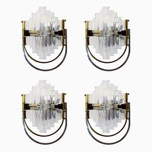 Applique in ottone e vetro di Gaetano Sciolari per Sciolari, Italia, anni '70, set di 4