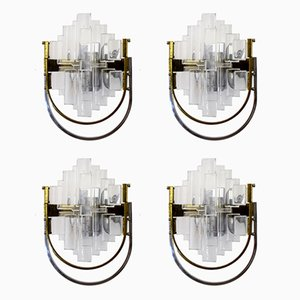 Italian Brass and Glass Sconces by Gaetano Sciolari for Sciolari, 1970s, Set of 4