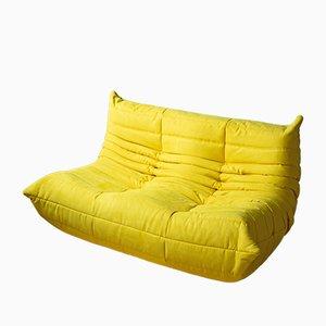 Gelbes Togo 2-Sitzer Sofa mit Mikrofaserbezug von Michel Ducaroy für Ligne Roset, 1970er