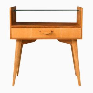 Deutscher Nachttisch aus Glas & Eschenholz von WK Möbel, 1950er