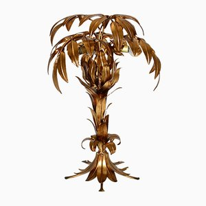 German Gold Plated Palm Tree Table Lamp by Hans Kögl, 1970s
