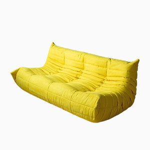 Togo Yellow Microfiber 3-Seater by Michel Ducaroy for Ligne Roset, 1970s