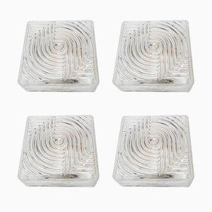 Modernist Glass Flush Mount Ceiling Lamps, 1970s, Set of 4