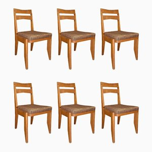 French Oak Dining Room Chairs by Guillerme et Chambron for Votre Maison, 1950s, Set of 6