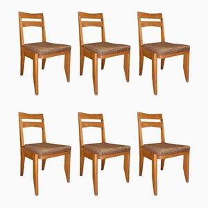 Set da salotto in quercia di Guillerme et Chambron per Votre Maison, Francia, anni '50, set di 6