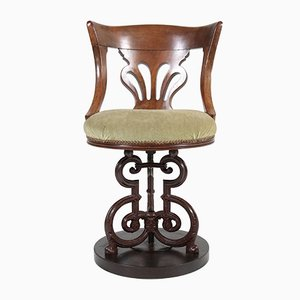 Antique Cast Iron and Mahogany Nautical Swivel Chair