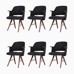 FE30 Esszimmerstühle mit Gestell aus Teak & Samtbezug von Cees Braakman für Pastoe, 1960er, 6er Set
